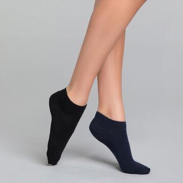 2 paires de socquettes courtes coton noir & bleu - Dim Basic Coton, , DIM