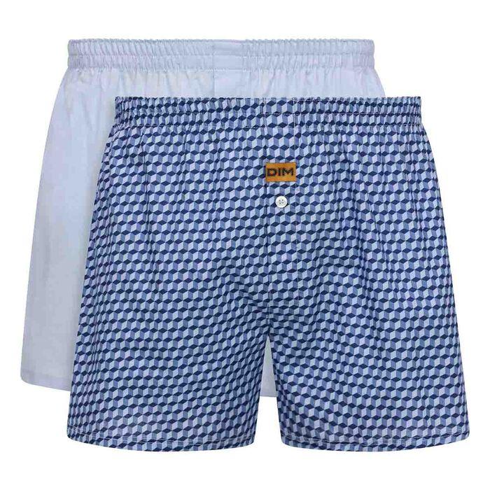 Lot de 2 caleçons Bleu Ciel et Imprimé Cube 100% coton pour homme, , DIM