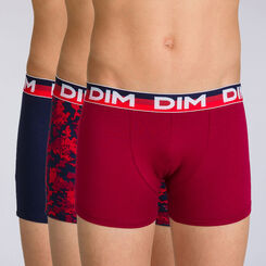Lot de 3 boxers graphique rubis Trio DIM BOY-DIM