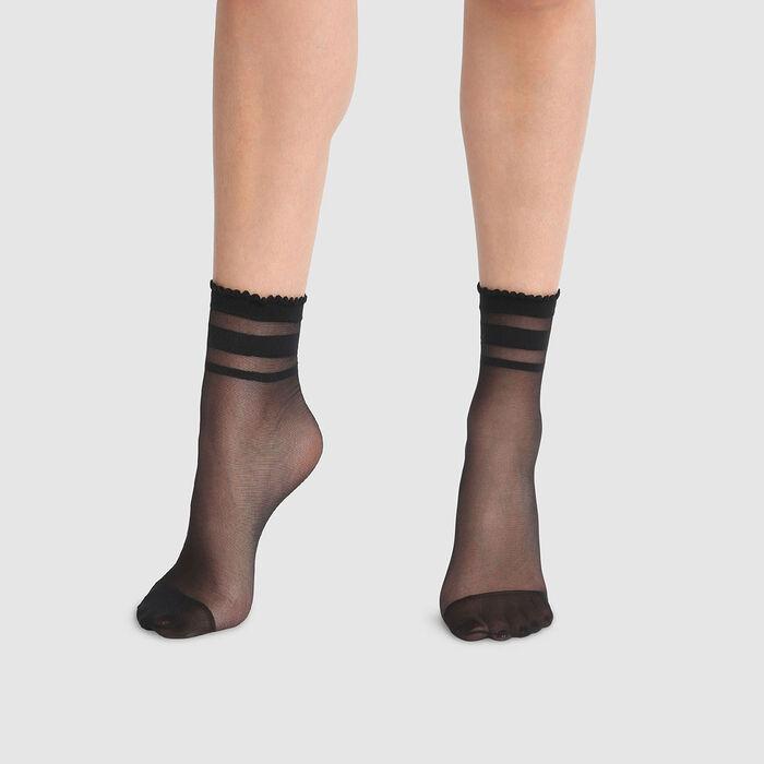Socquettes fantaisie imprimé rayures cheville noires Dim Style 29D, , DIM