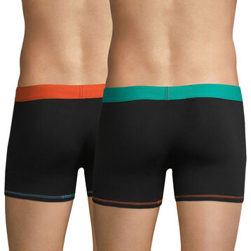 Lot de 2 boxers noirs ceinture orange et bleue Mix & Colors, , DIM