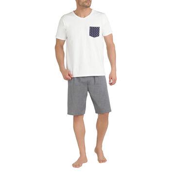 T-shirt de pyjama manches courtes blanc poche à pois Homme-DIM