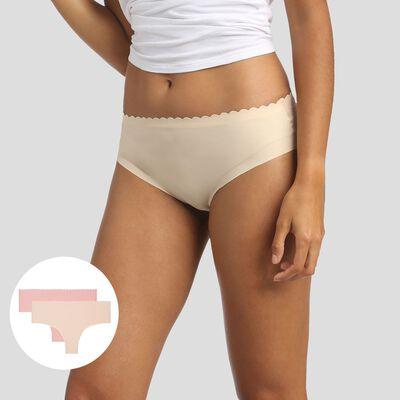 Lot de 2 hipsters beige crème et rose porcelaine Body Touch Microfibre, , DIM