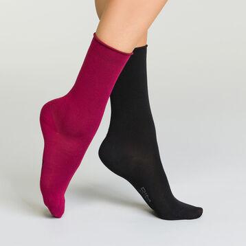 Lot de 2 paires mi-chaussettes pour femme en modal Bordeaux et Noir, , DIM