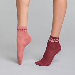 2 paires de chaussettes coton vieux rose et bordeaux - Dim Coton Style, , DIM