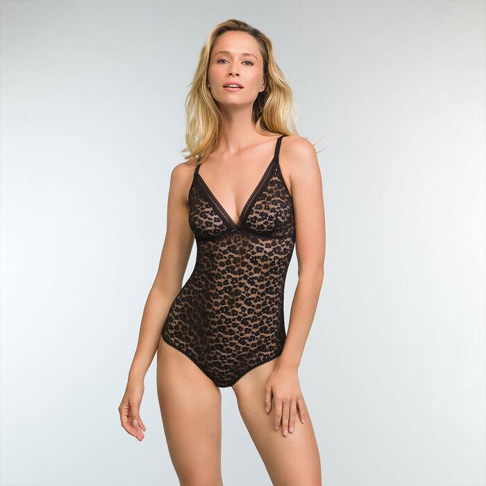 Body Noir en dentelle pour femme et à motifs Leopard Line, , DIM