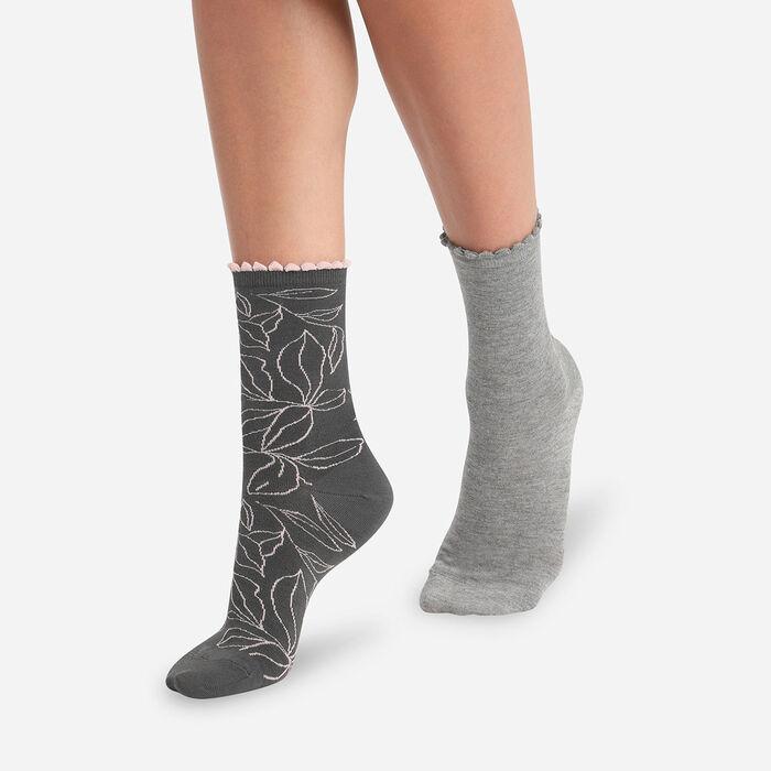 Lot de 2 paires de chaussettes femme feuilles XL Gris Clair Dim Bambou, , DIM