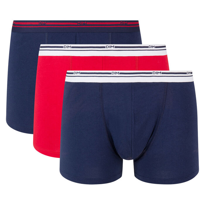 Lot de 3 boxers coton stretch Bleu Denim et Rouge Lave Daily Colors, , DIM