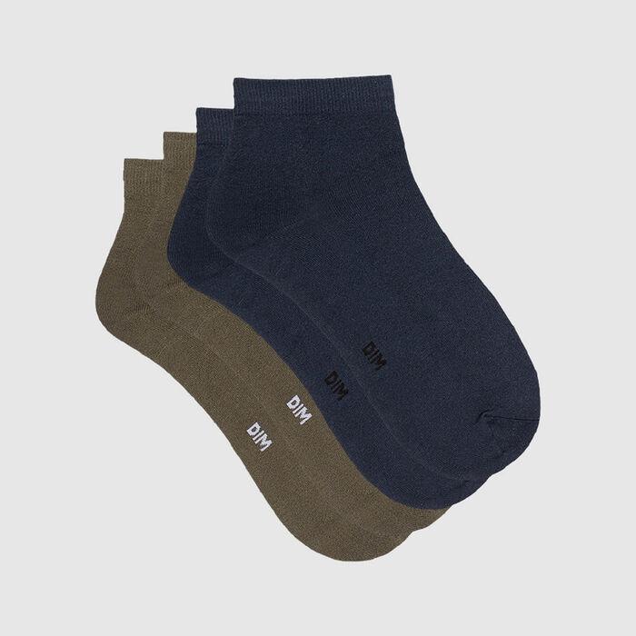 Lot de 2 paires de socquettes femme microfibre bleu pétrole olive Skin, , DIM