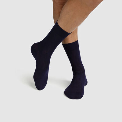 Lot de 2 paires de chaussettes homme en coton bio Navy Green by Dim, , DIM