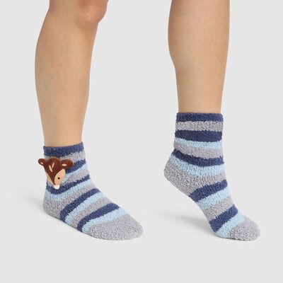 Chaussette enfant antidérapante tête de faon 3D Gris Bleu Kids Cocoon, , DIM