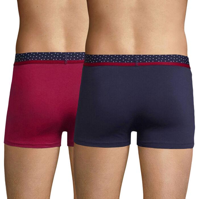Lot de 2 boxers rouge cerise et bleu cobalt - Mix and Dots, , DIM