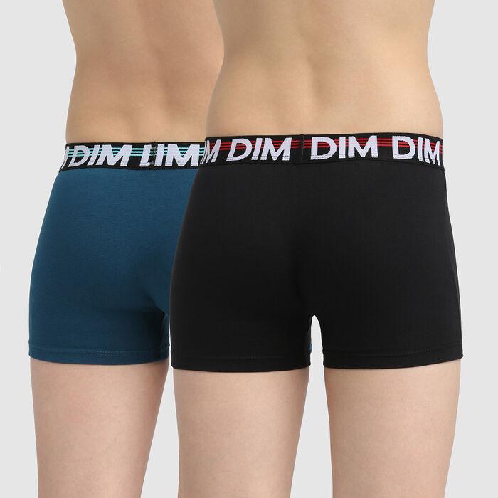 Lot de 2 boxers garçon coton stretch ceinture graphique Noir Eco Dim, , DIM