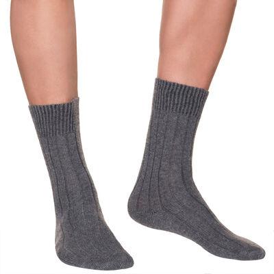 Mi-chaussettes anthracites en laine et cachemire Homme, , DIM