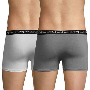 Lot de 2 boxers anthracite et blanc DIM Coton Stretch-DIM