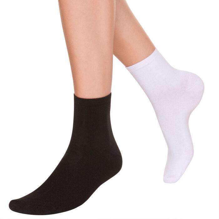 Lot de 2 paires de socquettes en coton blanches et noires, , DIM