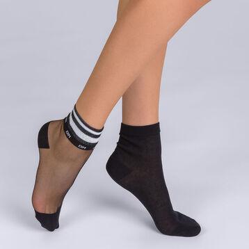 Lot de 2 socquettes Sport Chic noir Femme Style, , DIM