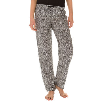 Pantalon de pyjama noir imprimé léopard Femme-DIM