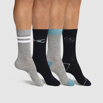 Lot de 4 paires de chaussettes homme motif marin Bleu Les Bons Plans, , DIM