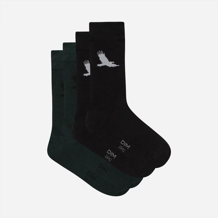 Lot de 2 paires de chaussettes homme à motif aigle Vert Coton Style, , DIM