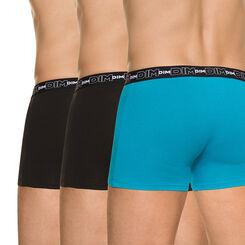 Lot de 3 boxers Homme noir/bleu /noir en coton stretch-DIM