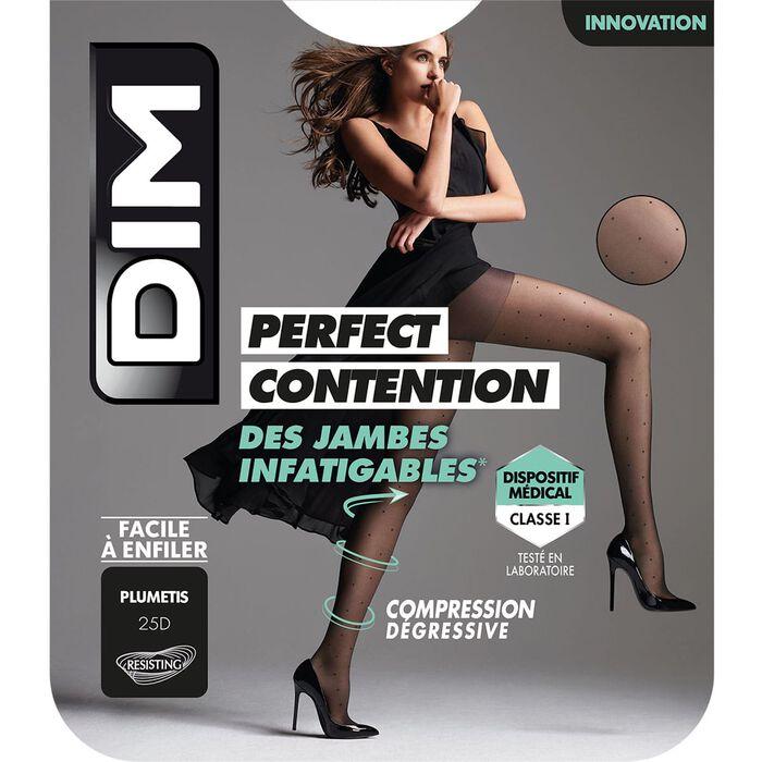 Collant Noir Fantaisie à plumetis pour femme DIM Perfect Contention 25D, , DIM