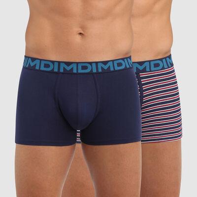 Lot de 2 boxers homme coton stretch bleu imprimé rayures Mix and Fancy, , DIM