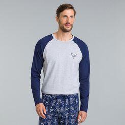 Tee-shirt de pyjama manches longues gris chiné Street Art-DIM