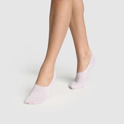 Lot de 2 paires de protèges pieds femmes lurex Lavande Coton Style, , DIM