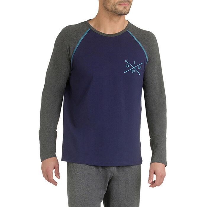 T-shirt de pyjama manches longues bleu et gris Homme-DIM