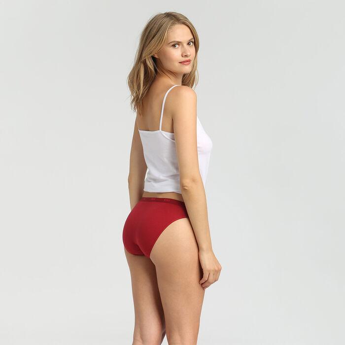 Lot de 3 culottes en coton stretch rose/marron/rouge Les Pockets EcoDim, , DIM