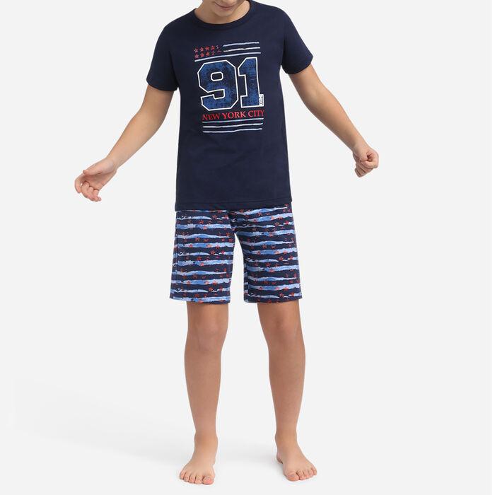 Pyjama court Bleu Matelot pour garçon 100% coton US Flag, , DIM