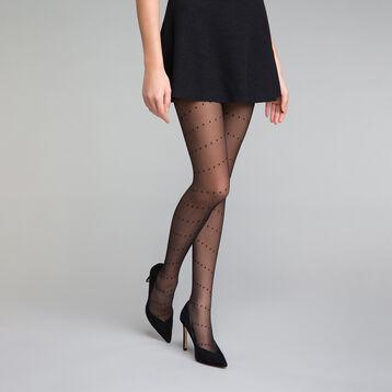 Collant plumetis motif entrelacé noir 20D - Dim Style, , DIM