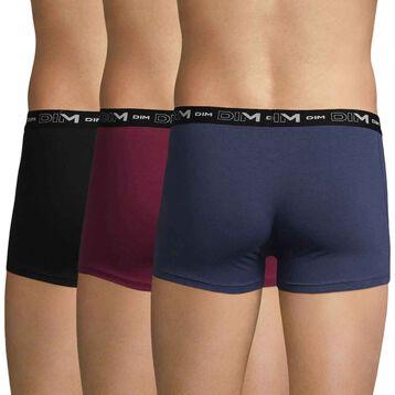 Lot de 3 boxers cherry berry, bleu et noir DIM Coton Stretch, , DIM