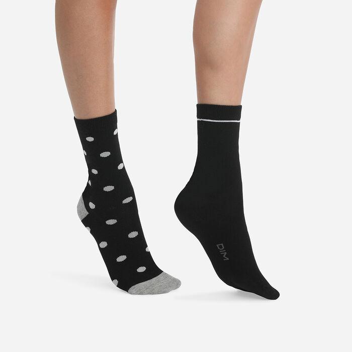 Lot de 2 paires de chaussettes femme à gros pois Noir Coton Style, , DIM