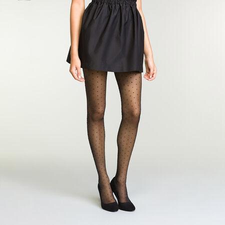 new high 100% quality well known Collant noir plumetis scintillant pour femme