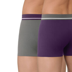 Lot de 2 boxers violet et gris en coton stretch Soft Touch, , DIM