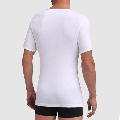 T-shirt blanc en coton col V sans couture Dim Excellence, , DIM