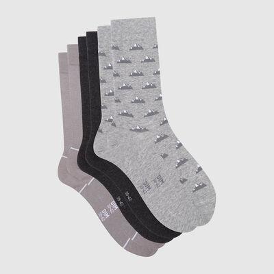 Lot de 3 paires de chaussettes hommes motif montagne Gris Coton Style, , DIM