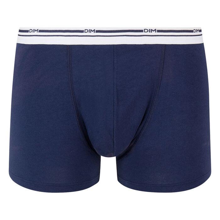 Boxer bleu denim en coton stretch à la ceinture blanche Classic Colors, , DIM