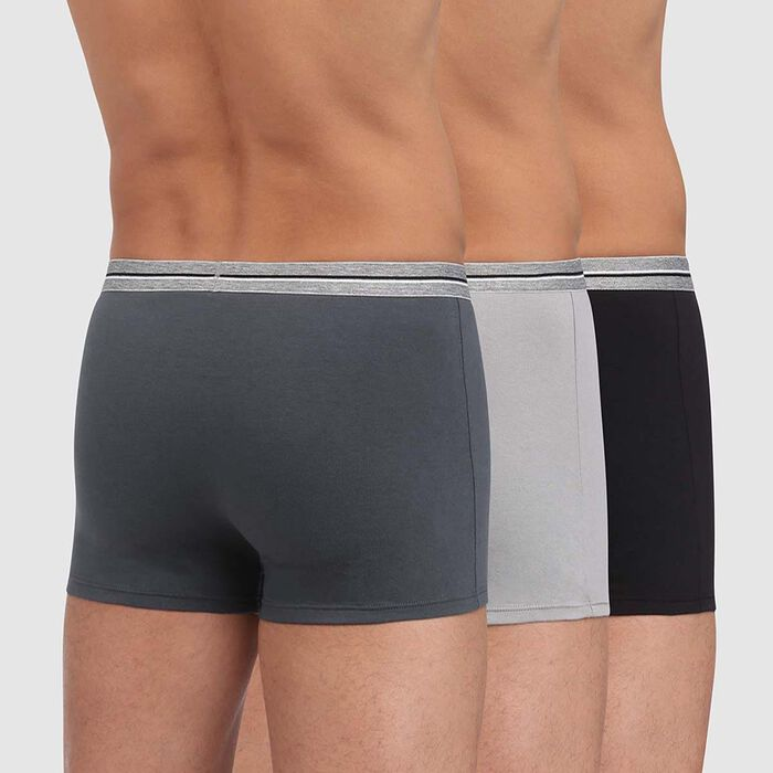 Lot de 3 boxers gris acier noir coton stretch résistant Ultra Resist, , DIM
