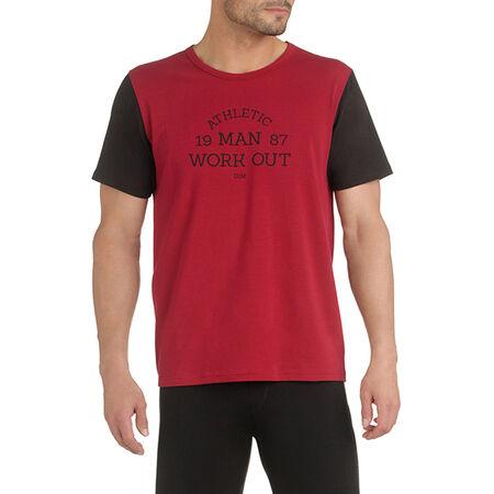 96c9810422ce0 T-shirt de pyjama manches courtes bordeaux et noir Homme