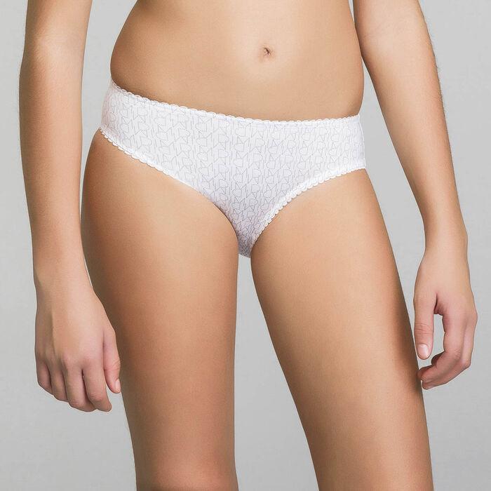 Culotte fille blanche imprimé logo - Dim Touch, , DIM