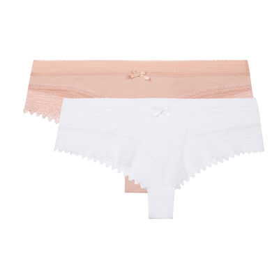 Lot de 2 shortys blancs et skin rose Sexy Fashion de Dim, , DIM