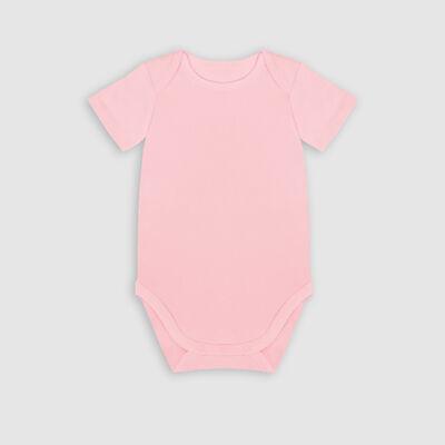 Lot de 3 body coton bio à manches courtes arc-en-ciel Rose Dim Baby, , DIM