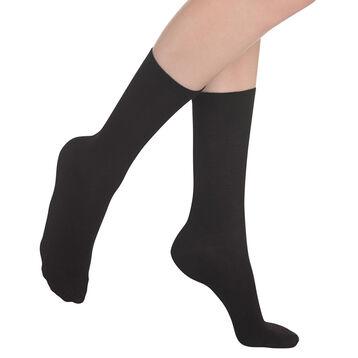 Chaussettes unies noires en laine douce Femme, , DIM
