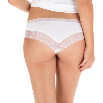 Shorty blanc en coton dentelle Sexy Fashion, , DIM