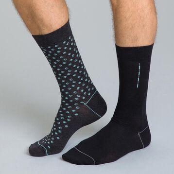 Lot de 2 chaussettes anthracite imprimé lune Homme-DIM