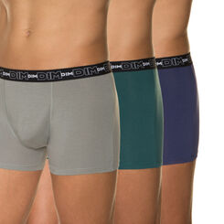 Lot de 3 boxers gris ardoise, bleu nuit et vert foncé, , DIM