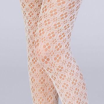 Collant résille fleurs graphiques ivoire Les Fantaisies , , DIM